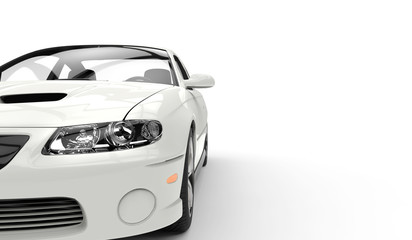 White Race Car Headlights