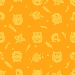 Halloween background with owl, skulls, roses and feathers