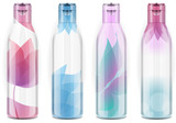 Four plastic bottles with candid color poster