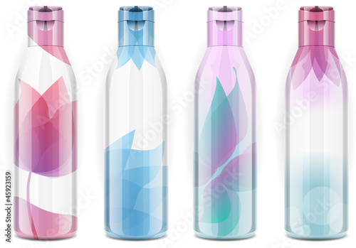 Four plastic bottles with candid color