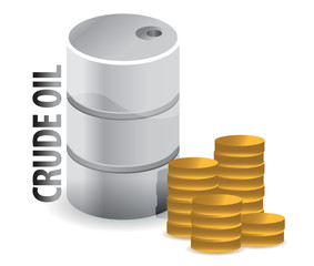 crude oil and coins currency illustration design