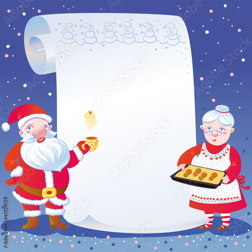 Scroll, Santa Claus And Mrs Claus.