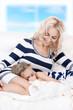 happy mother and sleeping girl
