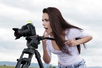 photographer taking pictures outdoors
