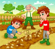 Funny scene in the vegetable garden. Vector illustration.
