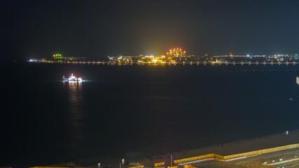 Palm Jumeirah and Yacht at night