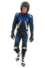 motor biker in leather suit