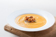 Cream of pumpkin with mushrooms
