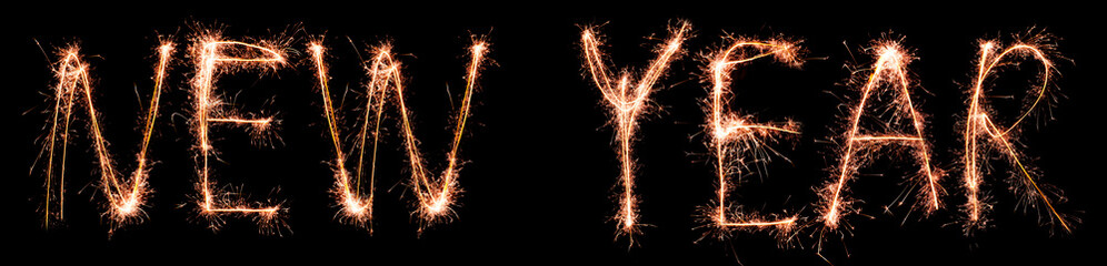 NEW YEAR made of sparkles. Sparkles words collection.