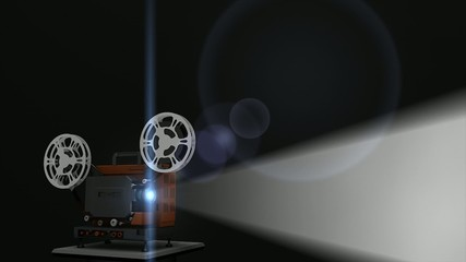 Old film projection animation with placeholder.