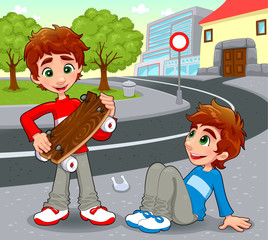 Twins with an homemade skateboard. Vector illustration.