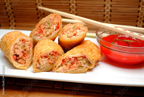 Appetizer; Cut Egg Rolls
