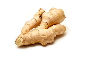 Root ginger isolated on a white background.