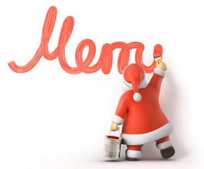 Santa writes Merry Christmas, 3d image with work-path