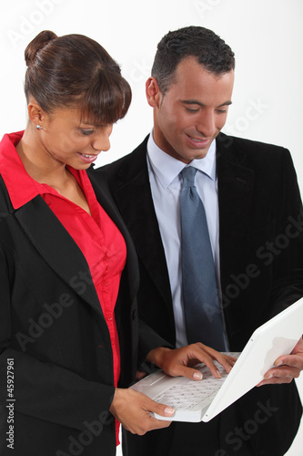 Two colleagues with laptop
