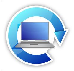 Cycle laptop illustration design