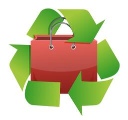 recycle shopping bag illustration design