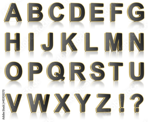Alphabet set as perforated metal objects over white