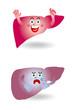 肝臓のキャラクターイラスト