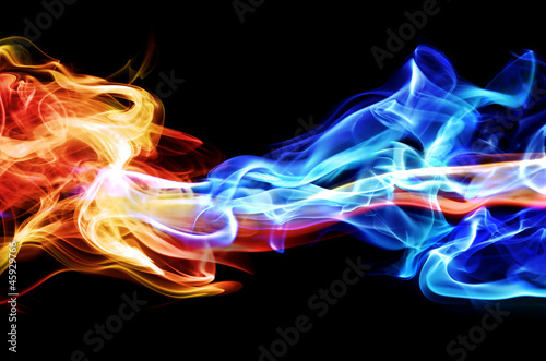 Red and blue smoke - 45929766