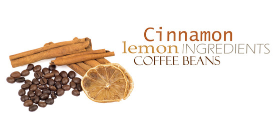 coffee beans, cinnamon and lemon
