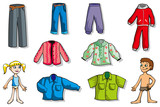 Set of cartoon clothes for girl and boy, vector