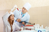 Male doctor and nurse  in medical laboratory