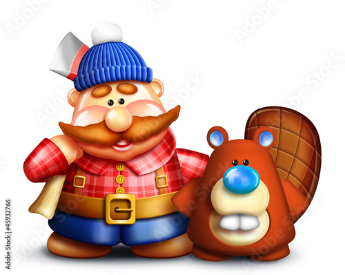 Whimsical Cartoon Lumberjack and Beaver