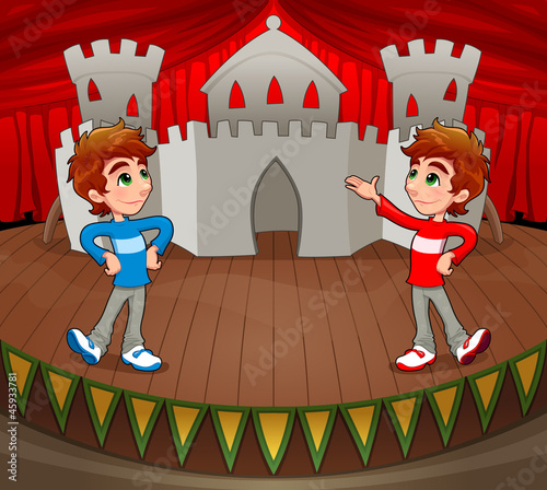 Twins are acting on the stage. Vector illustration.