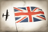 Faded photo Battle of Britain concept with British Flag