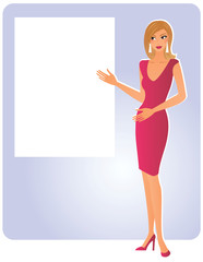 Attractive blond woman pointing on empty white board