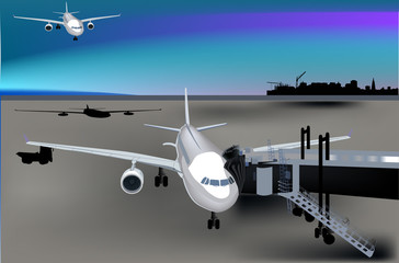 airplanes in airport illustration