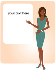african american woman with empty board