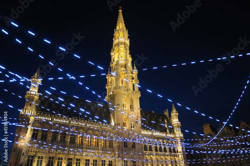 Night illumination of Grand Place in Brussels, Belgium