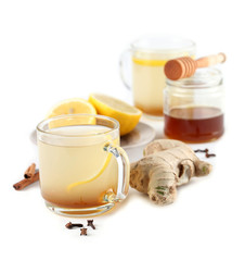 Ginger tea with honey, lemon and spices