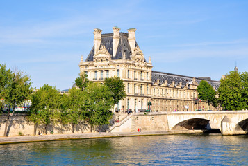 The Louvre Museum as seen from the Seine. Paris.