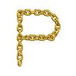 3d Gold Chain Alphabet Font - P