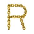 3d Gold Chain Alphabet Font - R