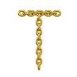 3d Gold Chain Alphabet Font - T