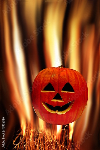 Halloween Pumpkin with fire background