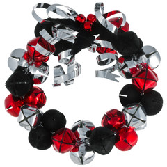 Christmas metal bells wreath with silver metal ribbon