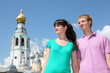 couple near Holy Resurrection cathedral in Vologda, Russia