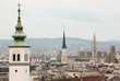 View on St. Charles church, Wiener Rathaus, city from roof
