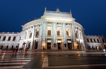 K.K. Hofburgtheater at night in Vienna, Austria