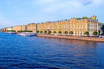 Hermitage and Neva  Embankment at Sunset