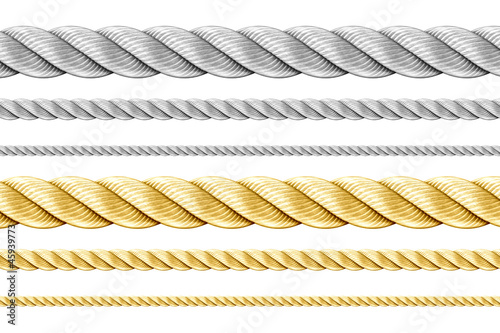 Leinwanddruck Bild Steel and golden ropes set isolated on white