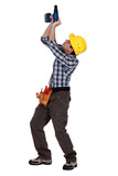 Tradesman piercing the ceiling poster