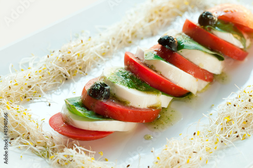 Mozzarella and tomato salad.