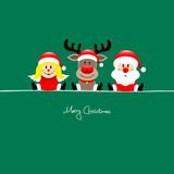 Sitting Angel, Rudolph & Santa