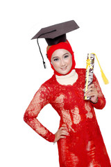 portrait of an asian young girl  holds a diploma of graduation